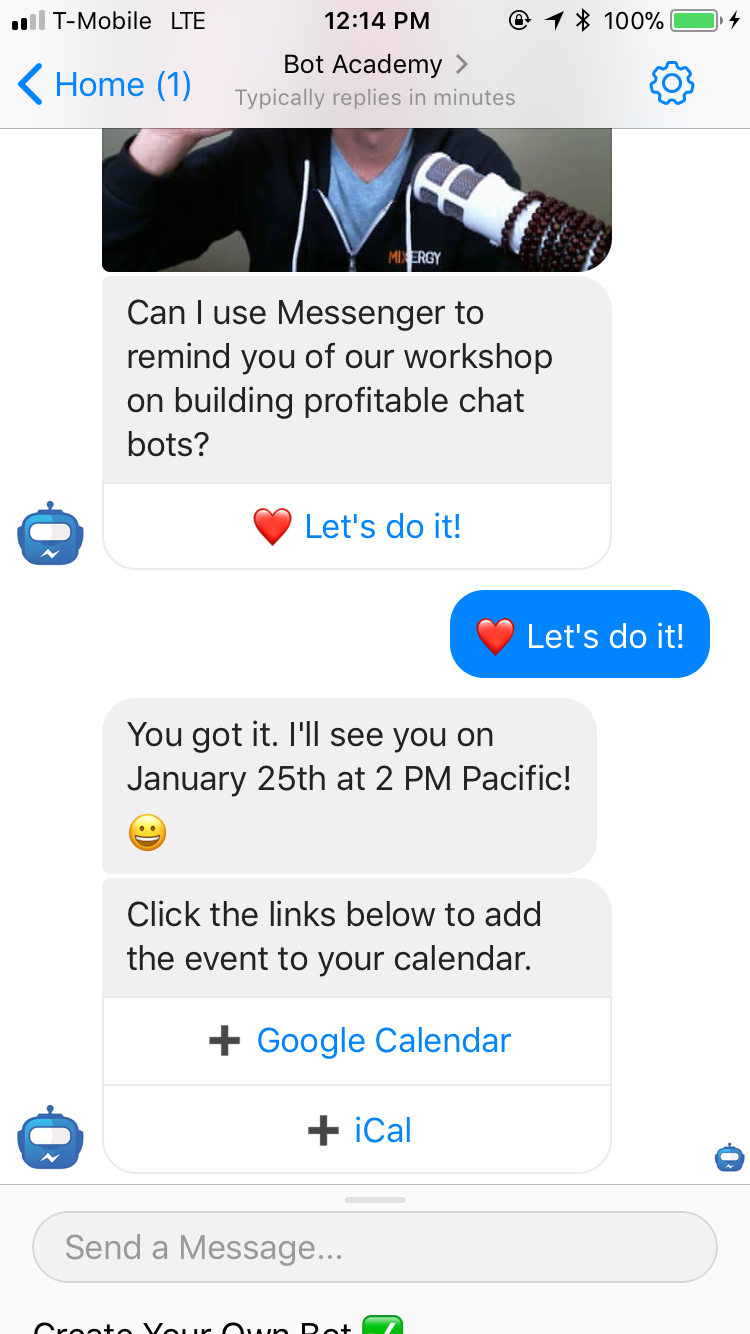 Facebook chatbot use cases